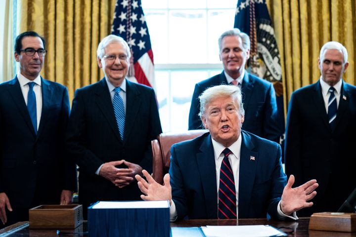 President Donald Trump speaks during a bill signing ceremony March 27 for the CARES Act, an economic stimulus package meant t