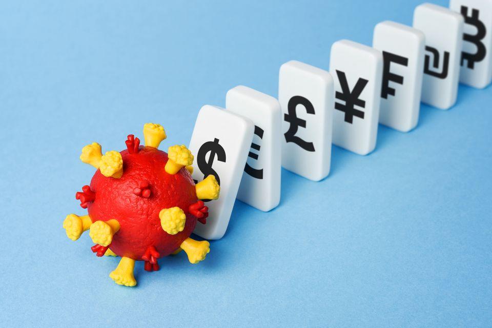 Global economic crisis. Market crash and financial loss due to Coronavirus