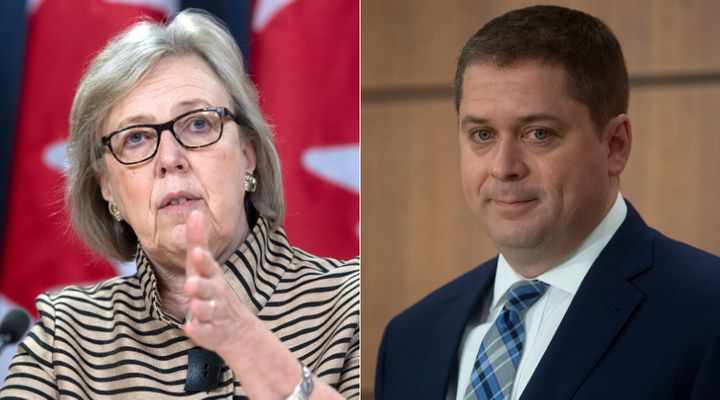 Green Party Parliamentary Leader Elizabeth May and Conservative Leader Andrew Scheer are shown in a composite image of photos from The Canadian Press.