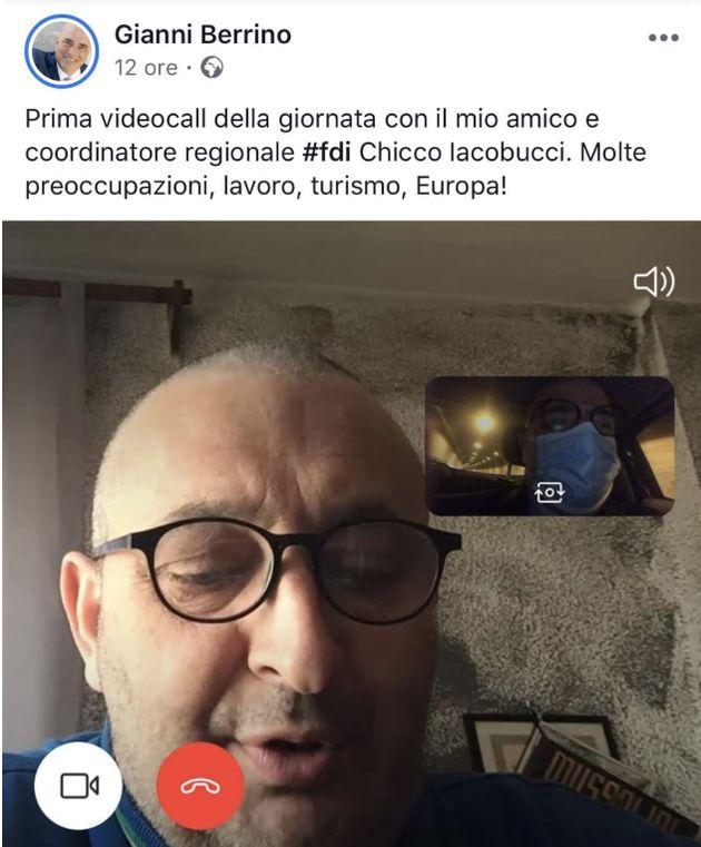 Alle spalle del coordinatore ligure di Fdi, il calendario di Mussolini. Il dettaglio notato sui