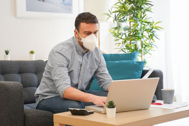 Man teleworking from home after coronavirus