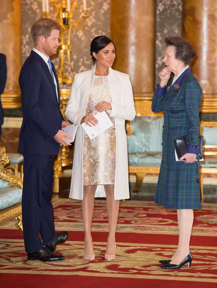 The Duke and Duchess of Sussex and Princess Anne attend a reception to mark the 50yh anniversary of the investiture of the Pr
