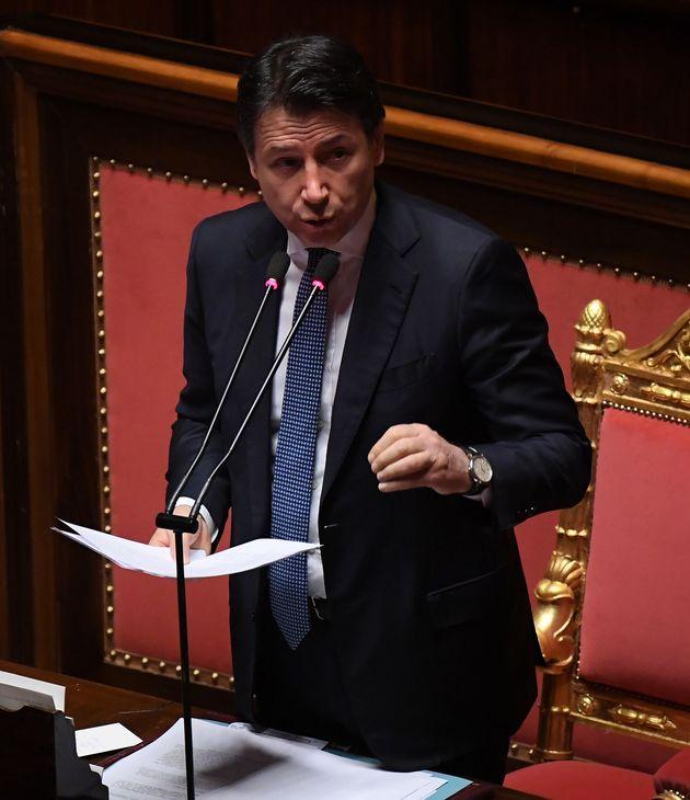 ROME, March 26, 2020 -- Italian Prime Minister Giuseppe Conte addresses the Senate, in Rome, Italy, March...