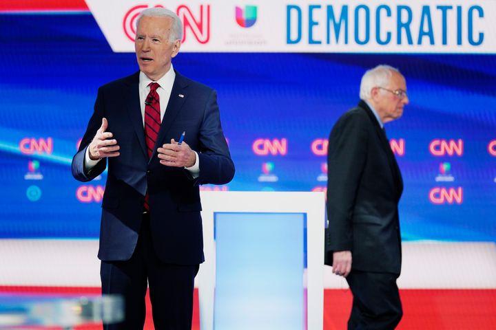 Former Vice President Joe Biden prepares for a Democratic presidential primary debate with Sen. Bernie Sanders (I-Vt.) at CNN