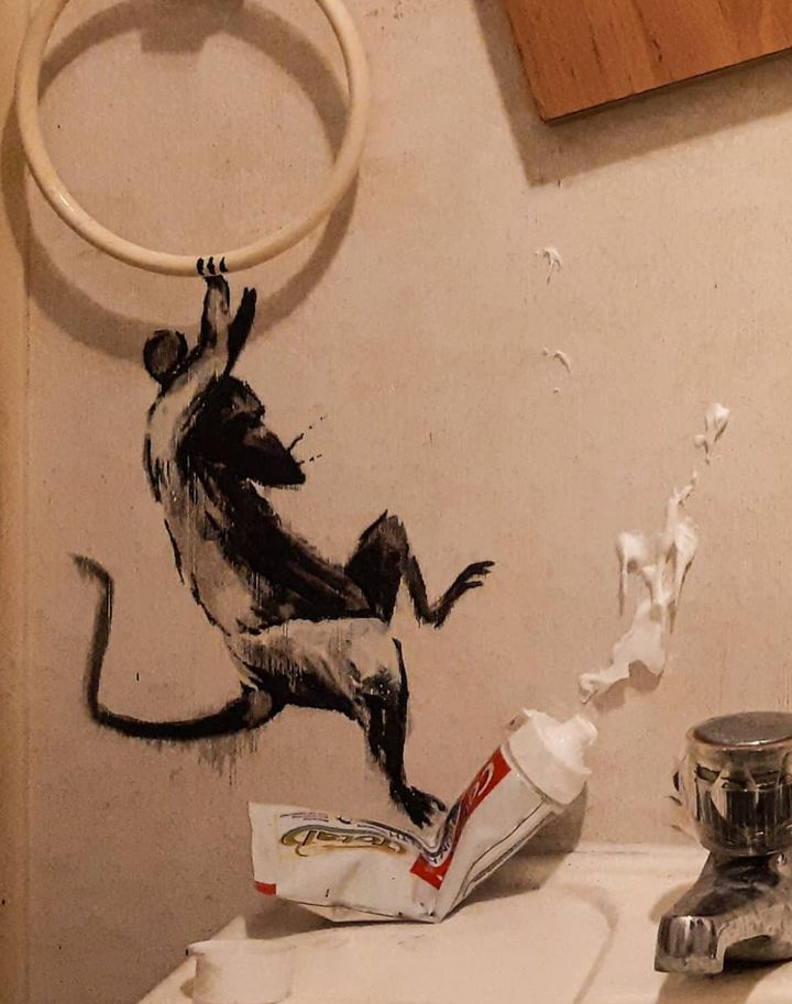 British street artist Banksy is now tackling his bathroom.
