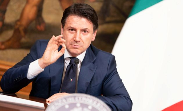 Giuseppe Conte, attending a press conference at Chigi Palace in Rome, Italy, 10 April