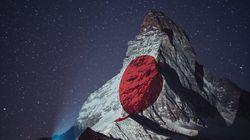 マッターホルン山頂に灯された日本の国旗。標高4478メートルから送り続ける世界へのエール(画像集)