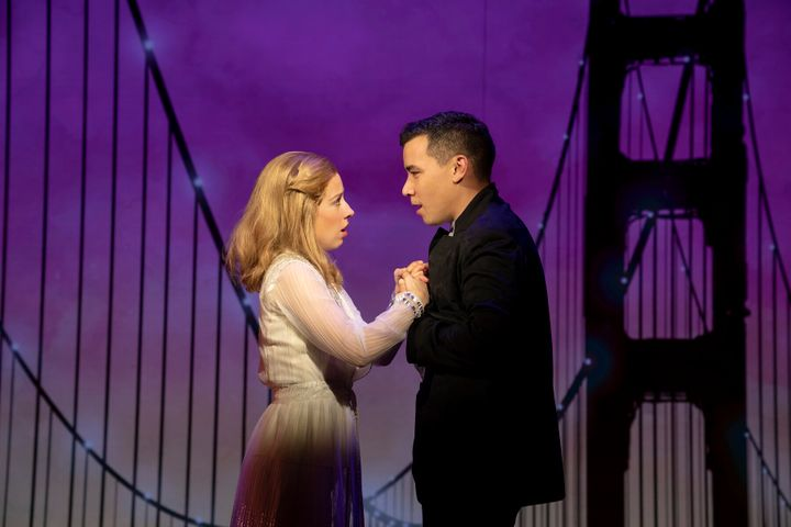"""Alyse Alan Louis (left) and Conrad Ricamora starred in """"Soft Power"""" at the New York Public Theater."""