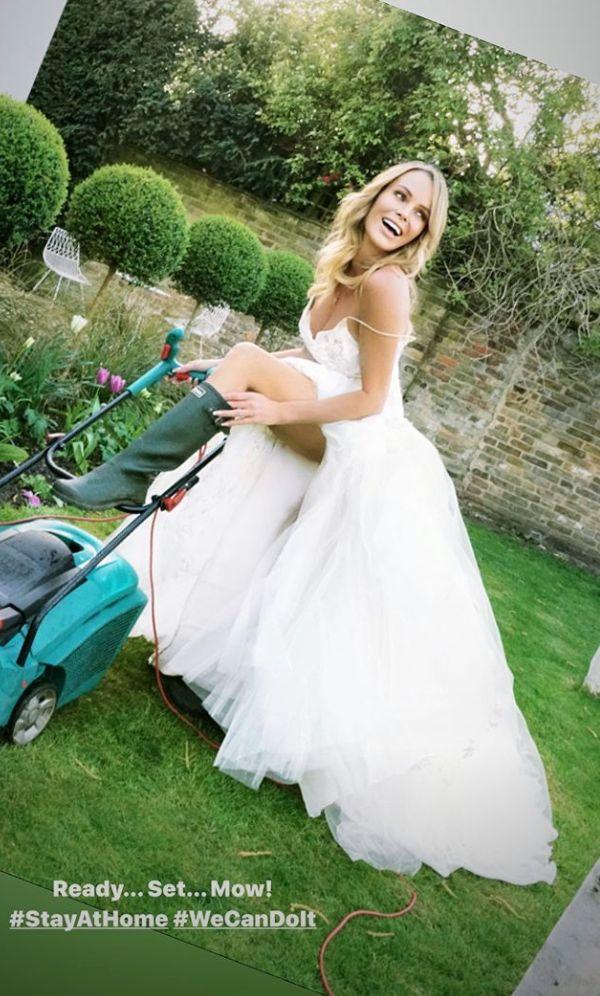 Amanda Holden mowed her lawn in her wedding