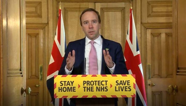 U.K. Health Secretary Matt Hancock attends a media briefing on the coronavirus in Downing Street, London, on April 15.