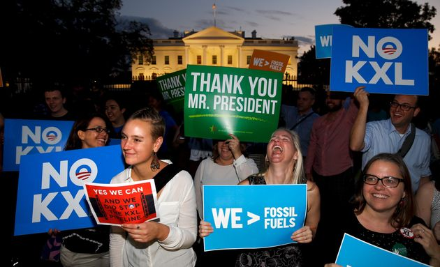 Activists gather to celebrate the Obama administration's rejection of the Keystone XL pipeline, outside...