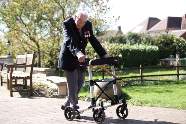 Captain Tom Moore has walked the length of his garden one hundred times before his 100th birthday this