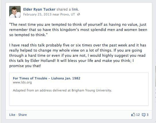 <em>One of Ryan Tucker's Facebook status updates, posted during his mission.</em>