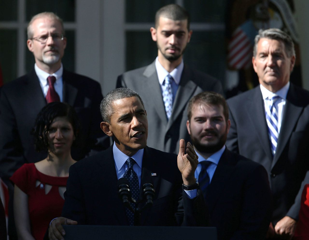 """<div class=""""feature-caption""""><em>President Obama delivers remarks about the error-plagued launch of Healthcare.gov in the Rose Garden. (Photo: Mark Wilson/Getty Images)</em></div>"""