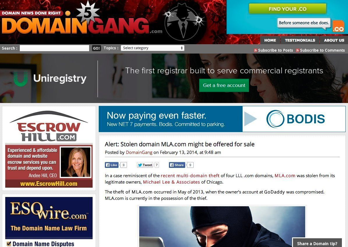 <em>DomainGang.com, run by an anonymous blogger, publishes news on the domain industry. The blogger reported that MLA.com appeared to have been stolen.</em>