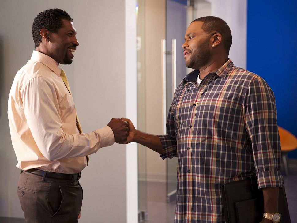 "<em>Anthony Anderson, right, in episode three of ""Black-ish,"" in which Dre sets out to expand Andre Jr.'s social circle to in"