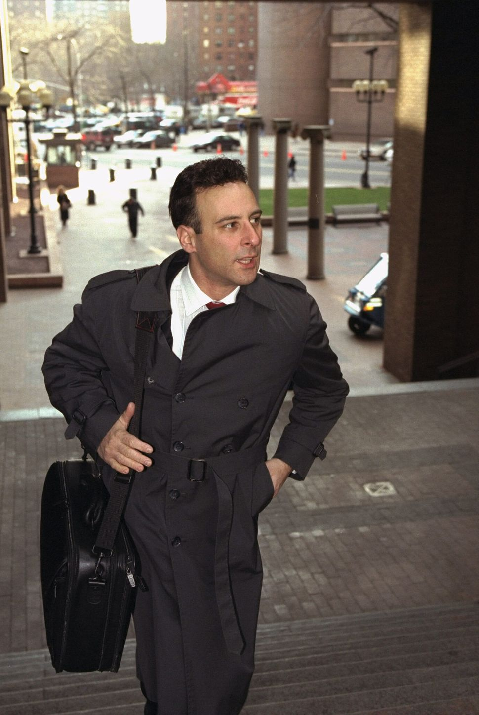 <em> Police Officer Francis Livotti arrives at police headquarters for a departmental<br> hearing on the death of Anthony Bae