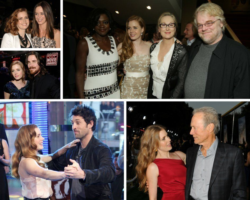 "[Clockwise from top left] Adams with ""Sunshing Cleaning"" co-star Emily Blunt; ""Doubt"" co-stars Viola Davis, Meryl Streep"