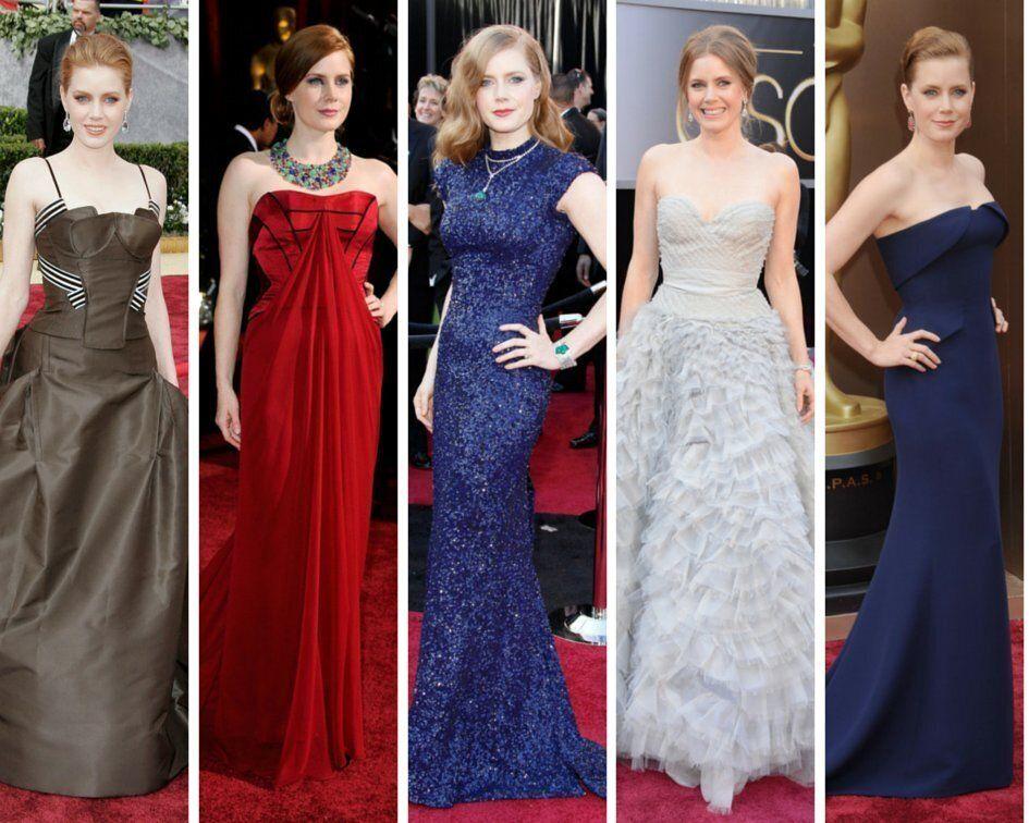 Designers: Carolina Herrera (2006), Carolina Herrera (2009), L'Wren Scott (2011), Oscar de la Renta (2013), Gucci (2014)