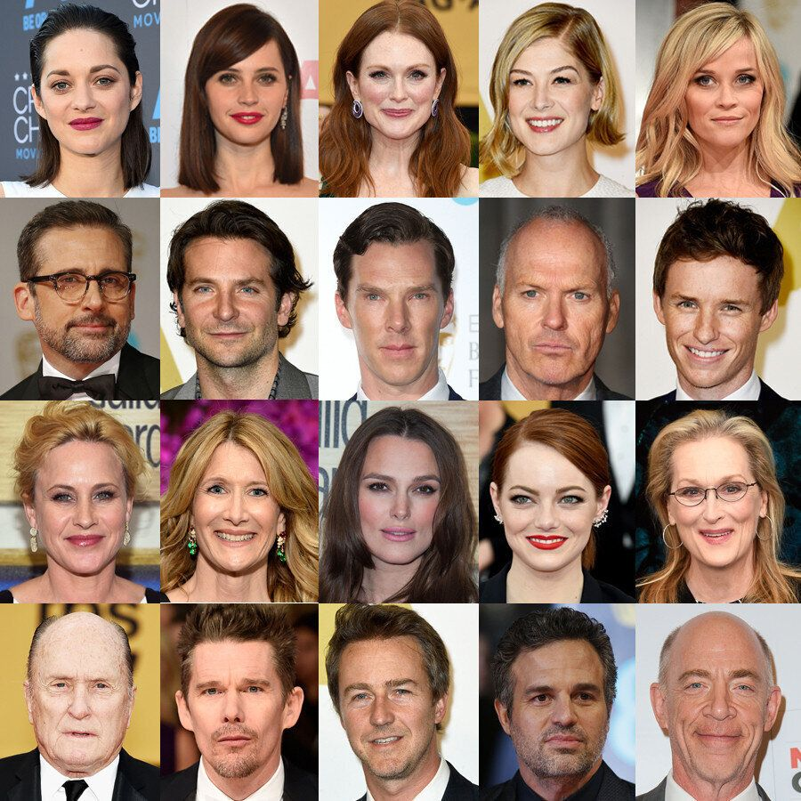 """<em>This year's Oscar nominees in the four acting categories, <a href=""""https://www.huffpost.com/entry/whitest-oscars_n_6466"""