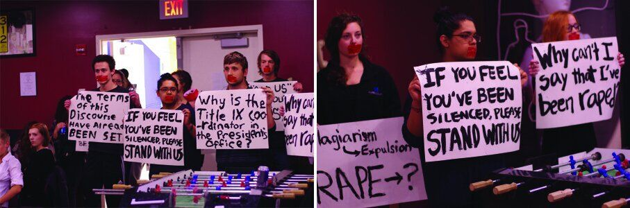 <em>Grinnell students organized a protest in fall 2014 after a student was reprimanded for an article criticizing the schoo