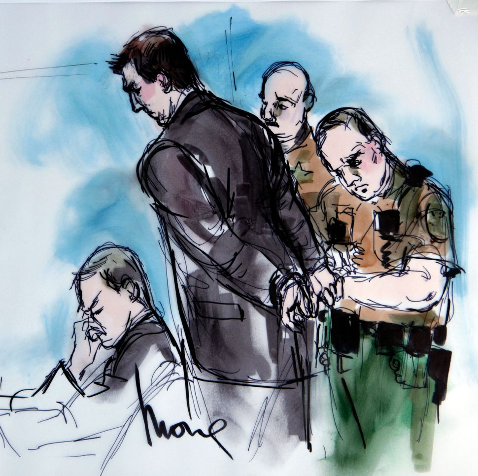 <em>In this artist's sketch, former BART police officer Johannes Mehserle, center, is taken into custody at the Criminal Just