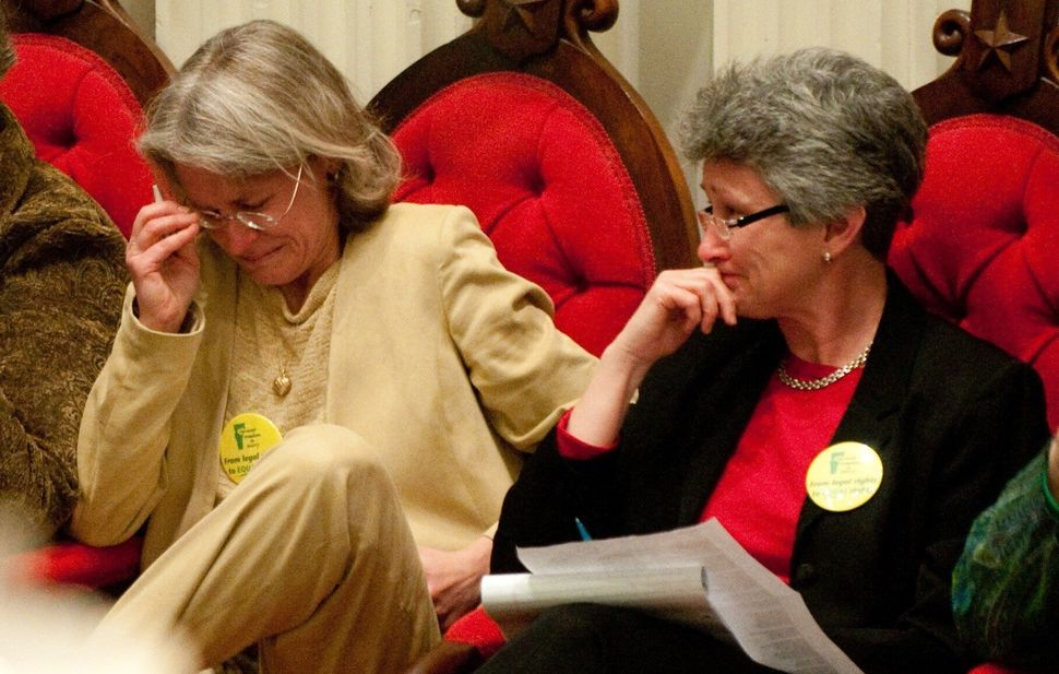 <em>Beth Robinson and Susan Murray on April 7, 2009, moments after the Vermont legislature voted to override Gov. Jim Douglas