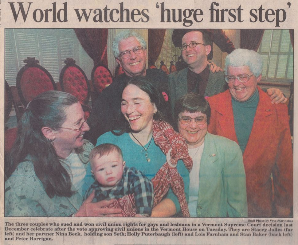 <em>Plaintiffs in Baker v. Vermont, 1998. (Rutland Herald)</em>