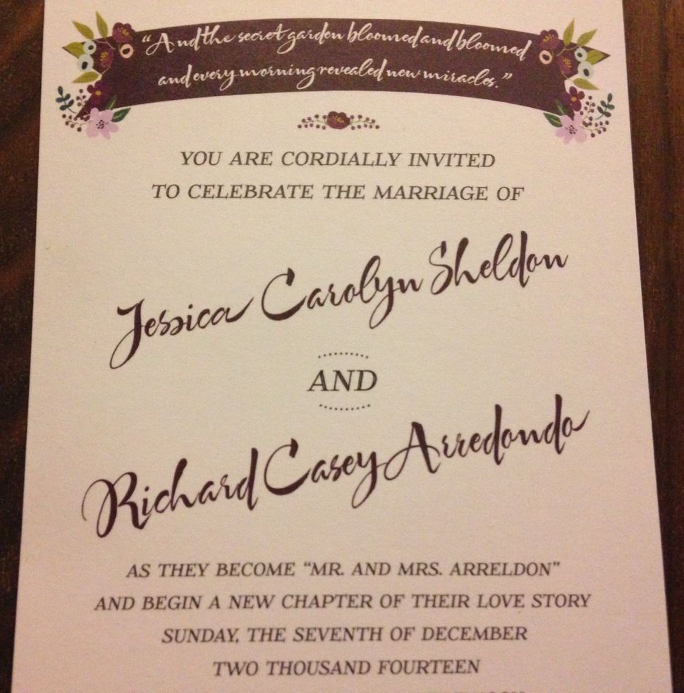 Jessica and Casey's wedding invitation.