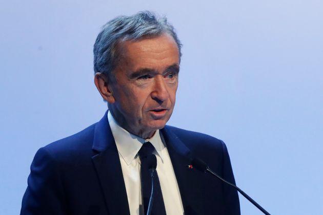 Le PDG de LVMH Bernard Arnault à Paris le 28 janvier