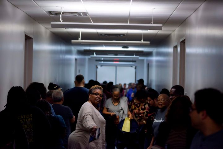 Voters crowd a polling station in Houston on Super Tuesday last month.