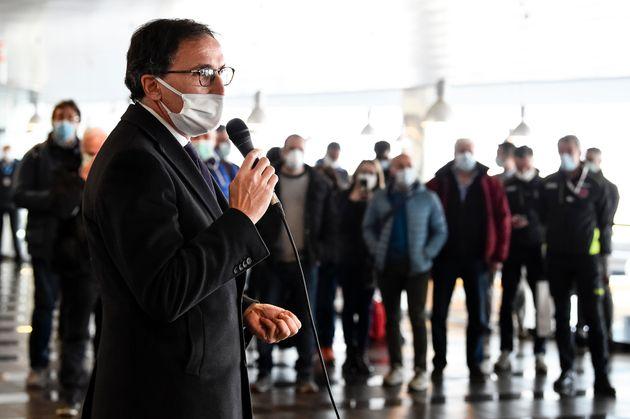 CASELLE TORINESE, TURIN, ITALY - 2020/04/02: Francesco Boccia, Italian Regional Affairs Minister, speaks...