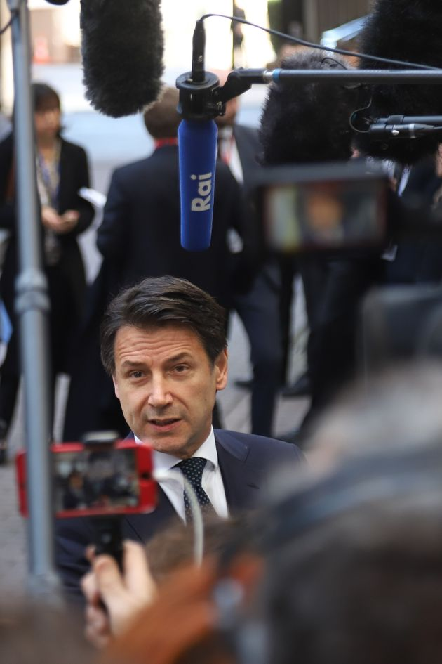 Giuseppe Conte, the Prime Minister of Italy having a doorstep media briefing - statement after the European...