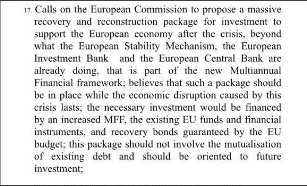 Recovery bond, risoluzione del Parlamento
