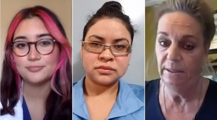Carolina Jimenez, a registered nurse, Febe Jimenez, a personal support worker, and Tina Dagnall, a nursing aide, speak to reporters by video conference on April 16, 2020.