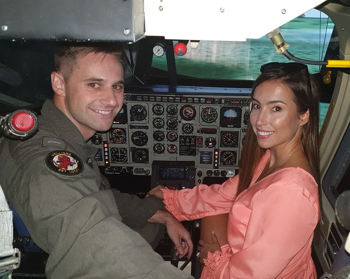 John and Kimber inside a helicopter, 2019