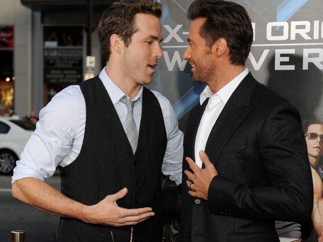 Ryan Reynolds and Hugh Jackman arrive at the