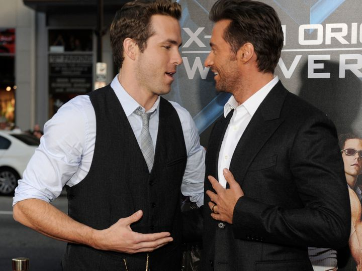 """Ryan Reynolds and Hugh Jackman arrive at the """"X-Men Origins: Wolverine"""" screening in 2009, not long after Jackman says their"""