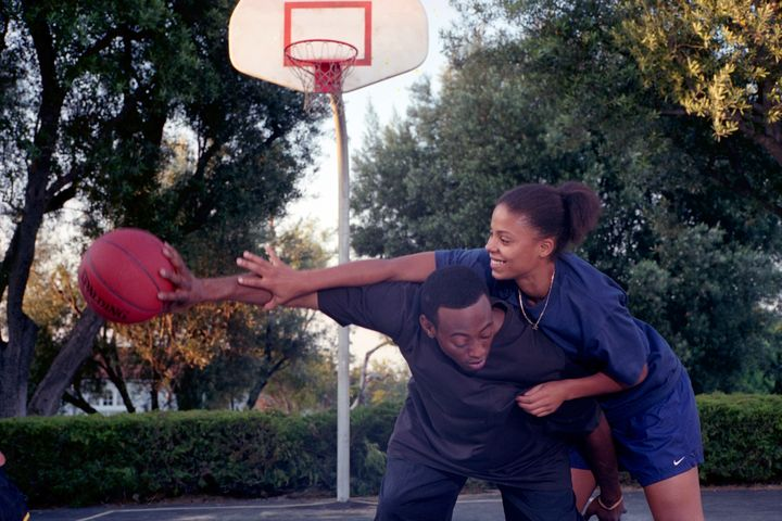 "Omar Epps as Quincy and Sanaa Lathan as Monica in ""Love & Basketball."""