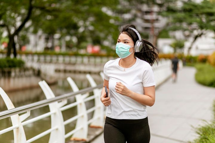Experts advise wearing a facial covering if you're exercising outdoors potentially near other people.