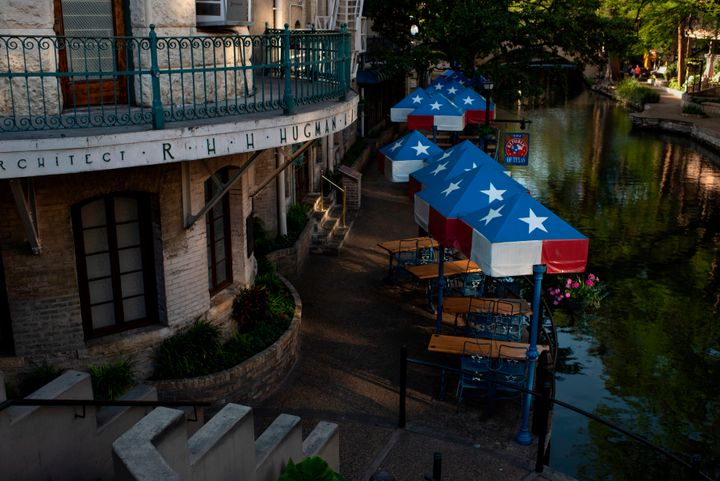 Restaurants are empty on the river walk on April 1, 2020, in downtown San Antonio, Texas, amid the novel coronavirus outbreak