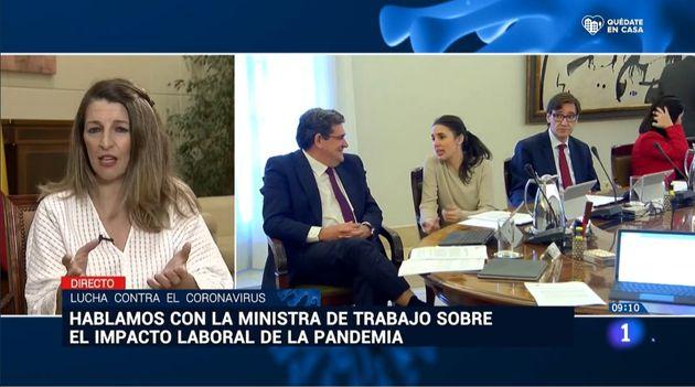 Yolanda Díaz, en 'Los desayunos' de RTVE el 17 de abril de