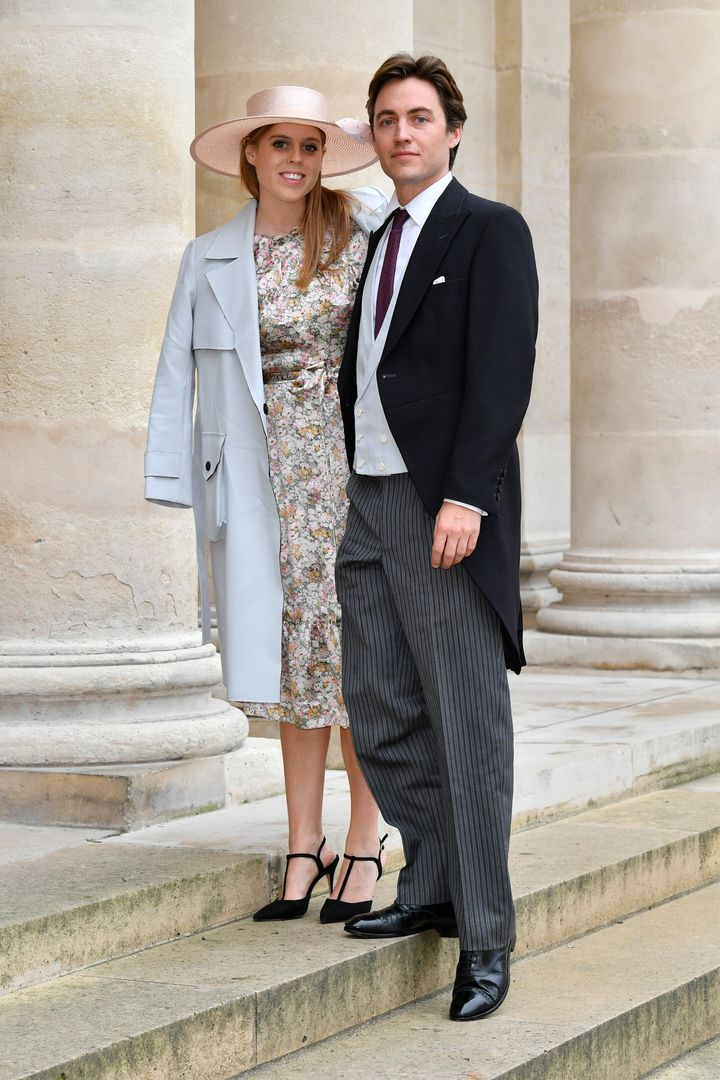 Princess Beatrice and her fiancé Edoardo Mapelli Mozzi attend the wedding of Prince Jean-Christophe Napoleon and Olymp