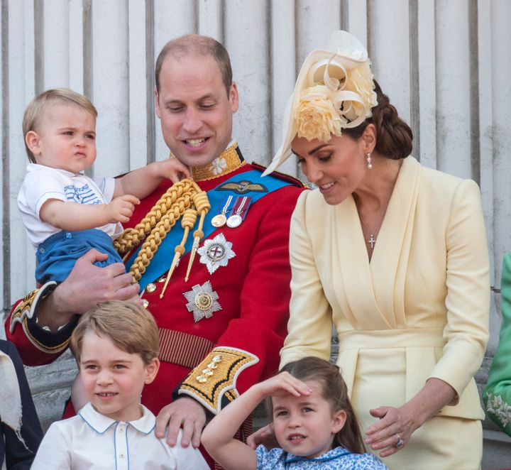 Prince William, Catherine, Duchess of Cambridge, Princess Charlotte, Prince George and Prince Louis during Trooping The Colou