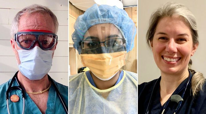 Dr. Joe Vipond in Calgary, left, Dr. Nadia Alam in Halton Hills, Ont., centre and Dr. Marie-Renée Lajoie in Montreal have been working on the front lines of the COVID-19 crisis.
