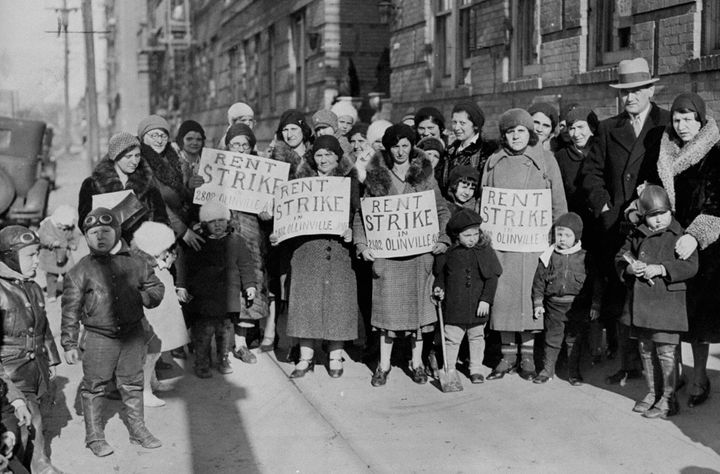 Women picket during a rent strike for reductions of rent in the Bronx, New York, in 1932.