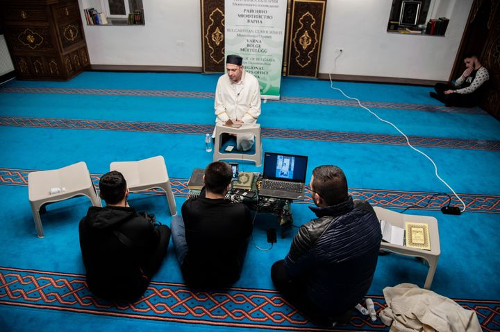The Azazie Mosque in Varna, Bulgaria livestreams on Facebook to connect with their mosque members at home, on April 07,