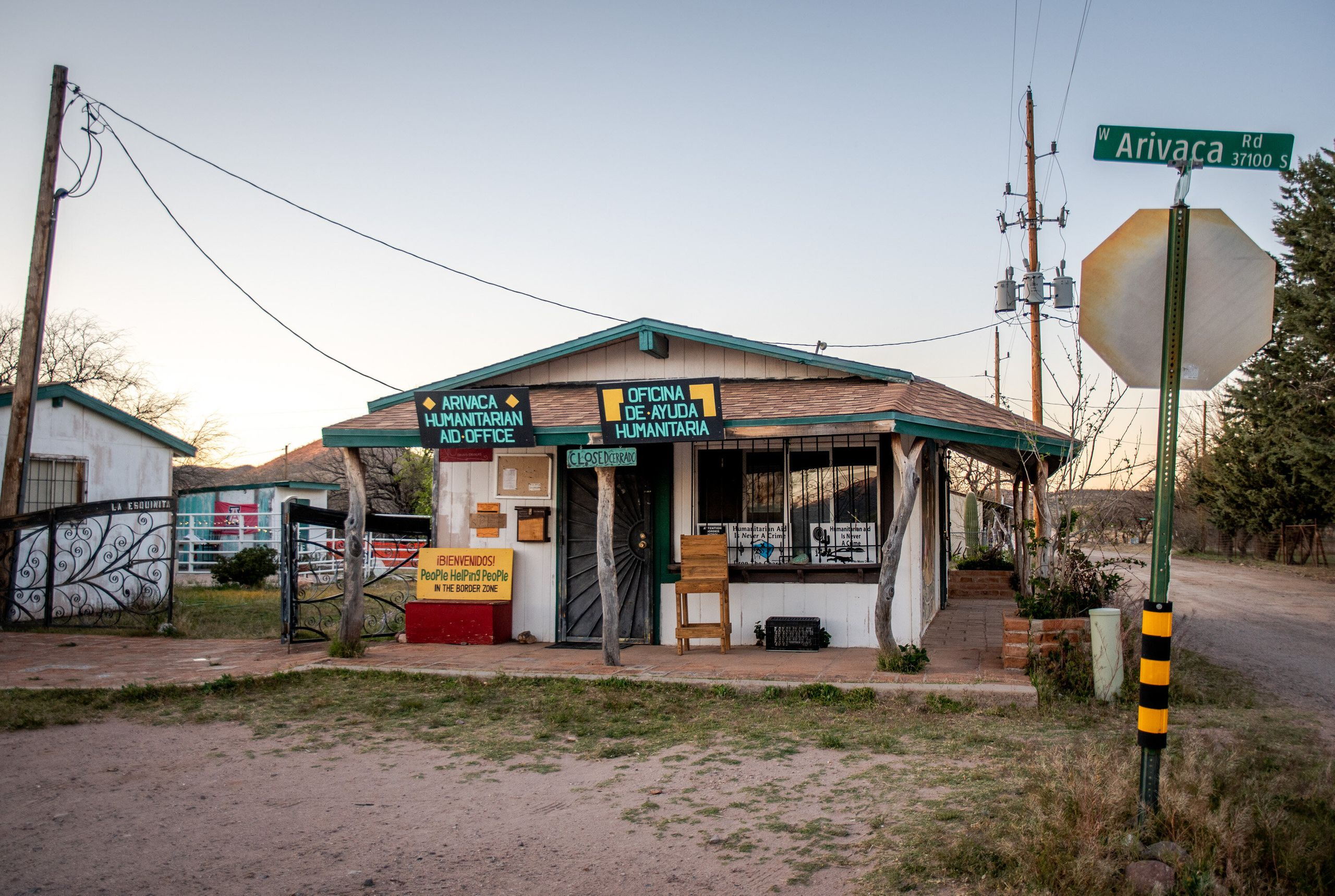 The People Helping People humanitarian aid office is empty in Arivaca at sunset on April 15.
