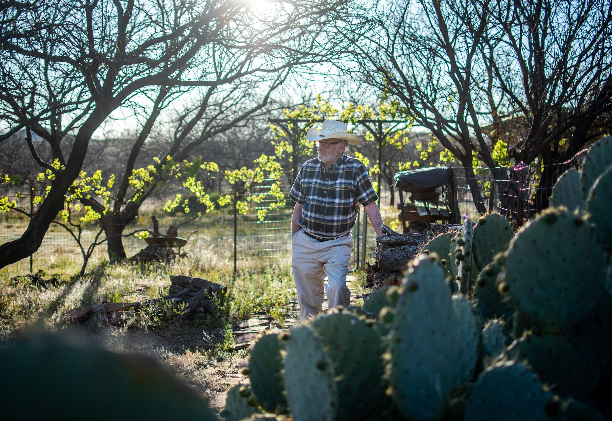Dan Kelly, a 74-year-old retiree with chronic obstructive pulmonary disease, stands at his Arivaca home on April 15. Kelly ha