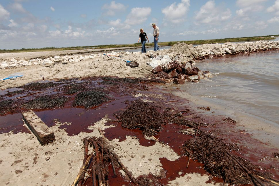 Oil washes ashore against a land bridge built by the Louisiana National Guard to hold back oil from the Deepwater Horizon oil